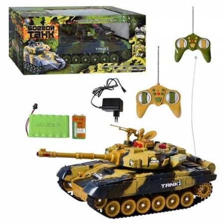 Боевой танк - игрушка на р/у с имитацией выстрелов и световыми эффектами