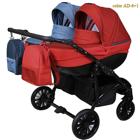 Amadeo Duo 2 в 1 - стильная, маневренная, и легкая коляска для двойни со вставками эко-кожи