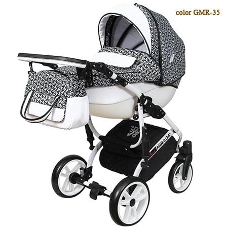 Детская коляска Grand Mirage Royal - стильная коляска 2в1 в чорно-белых цветах на силиконовых колесах