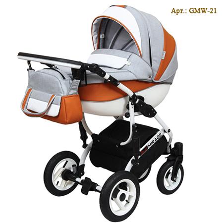 Детская коляска Grand Mirage White - стильная модель коляски 2 в 1 выделяется дорогой структурной льняной тканью со вставками эко-кожи.