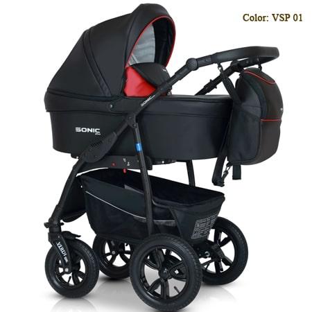 Verdi Sonic PLUS  3в1 - универсальная модель коляски в брендовой ткани со вставками эко-кожи.