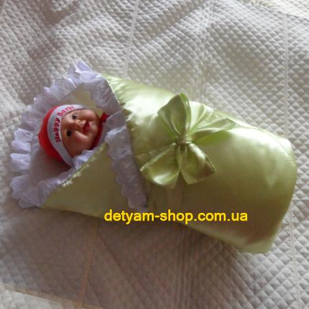 Атласный конверт-одеяло с кружевом и бантиком