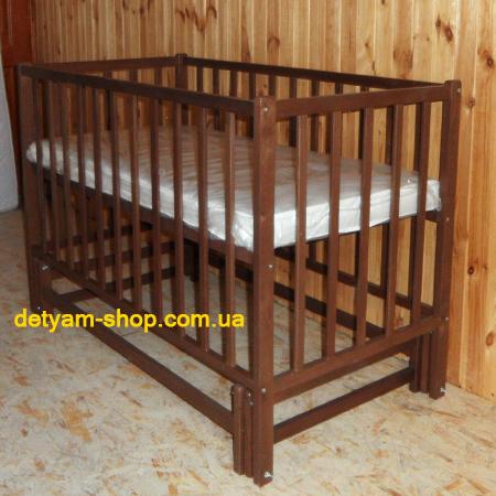 Карпаты 2 - тонированная детская кроватка на шарнирах (бук)