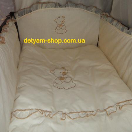 Балу - набор постельного белья в кроватку с вышивкой (8 предметов)