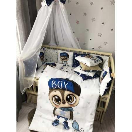 Набор постельного белья Совёнок с бортиками-подушечками и цифровым принтом