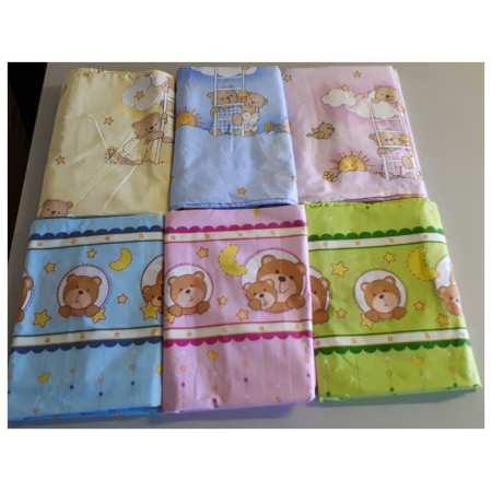 Постель-030 - комплект постельного белья в кроватку на резинке изготовлен с натуральной 100% хлопковой ткани ( бязь)