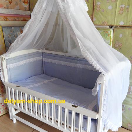 Нежность - красивый кружевной набор с 7 предметов в кроватку
