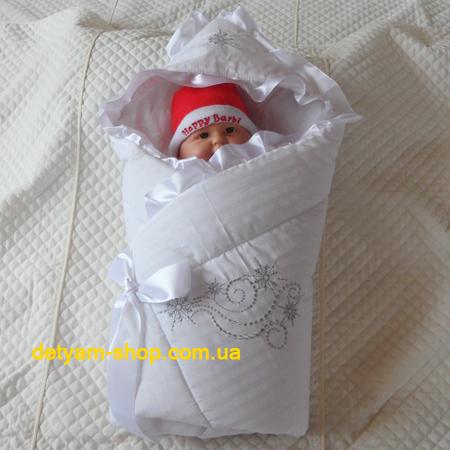Снежинка - зимний конверт-одеяло с рюшем и вышивкой