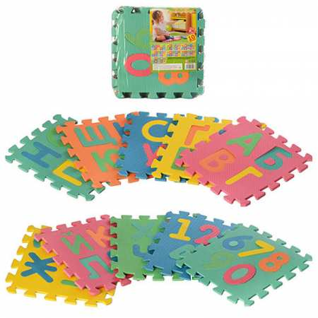Коврик-пазл - Алфавит и Цифры-игровой развивающий мягкий коврик с изображением цифр и алфавита