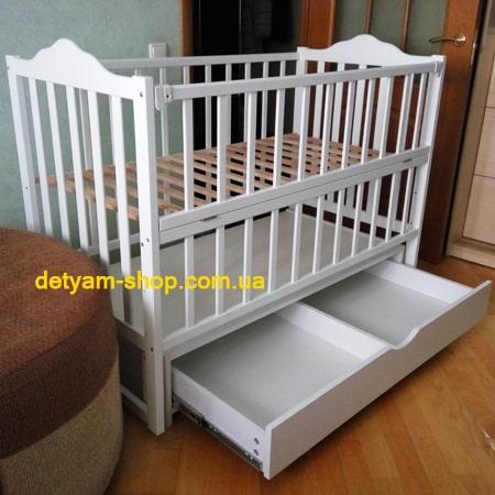Карпаты-люкс белая - кроватка на шарнирах с  закрытым ящиком