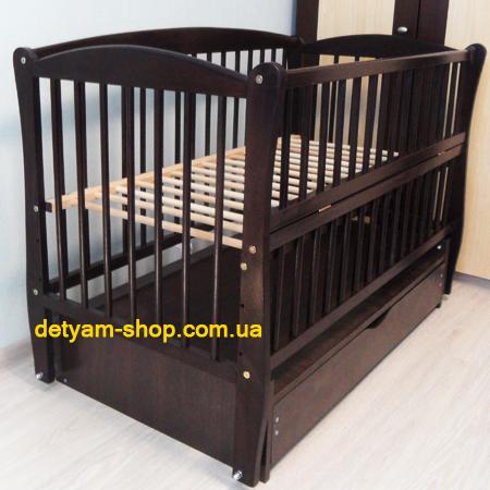 Детская кроватка Элит венге - красивая буковая кроватка на шарнирах с  закрытым ящиком