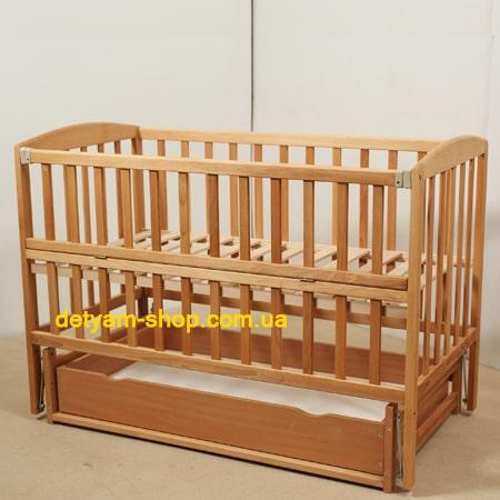 Детская кроватка Гойдалка с ящиком детская нелакированная кроватка на шарнирах