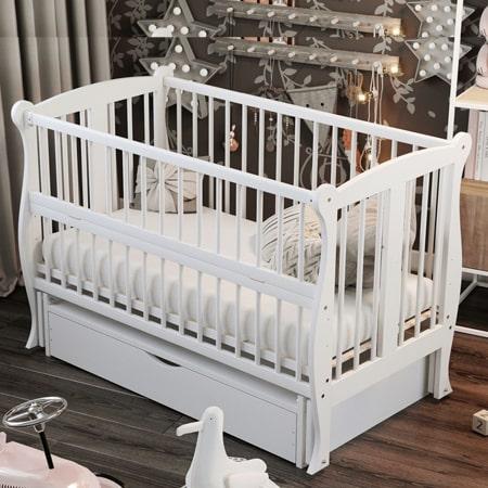 Детская элегантная кроватка Грация белая с ящиком