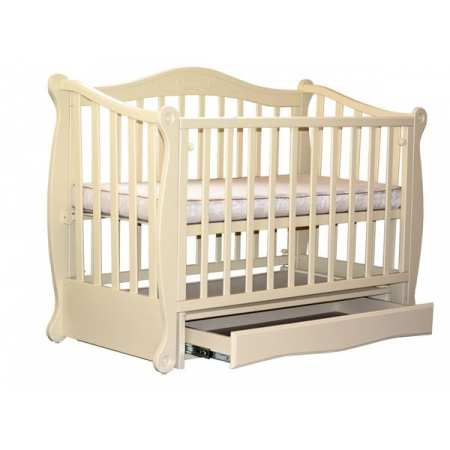 Модена - элегантная детская кроватка на шарнирах с закрытым ящиком