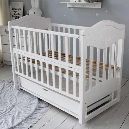 Детская кроватка Умка белая с ящиком