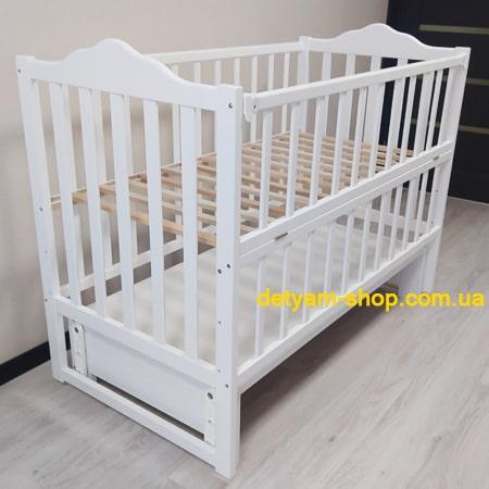 Детская кроватка Карпаты-люкс белая на шарнирах со стопором