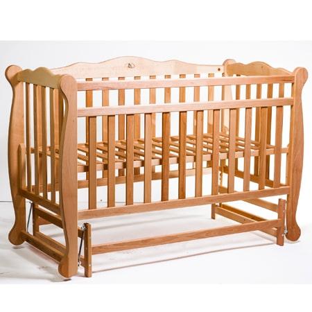 Детская элегантная кроватка NATALI-1 с натурального дерева без лака