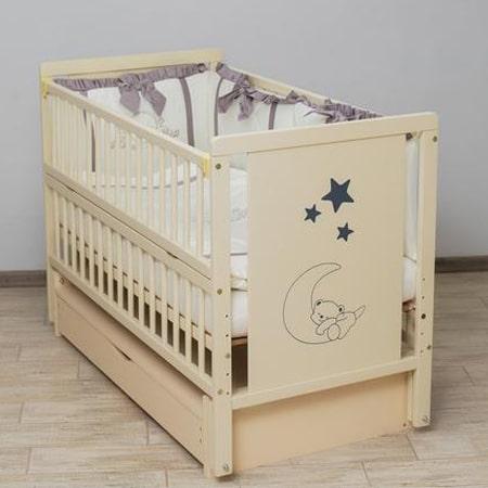 Детская кроватка Мишка на месяце-2 слоновая кость