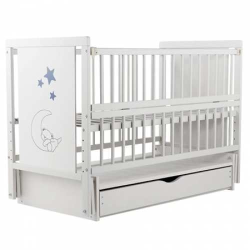 Детская кроватка Мишка на месяце-2 белая