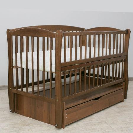 Элит темный орех - красивая буковая кроватка на шарнирах с  закрытым ящиком