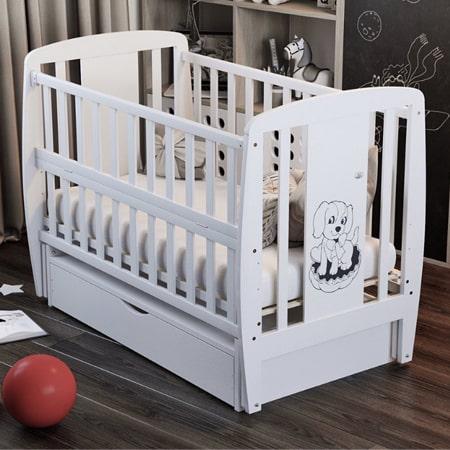 Детская кроватка Собачка с закрытым ящиком, вставками МДФ и красивым рисунком