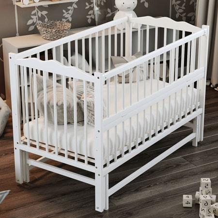 Детская кроватка Веселка - люкс белая - кроватка на шарнирах с откидной стенкой