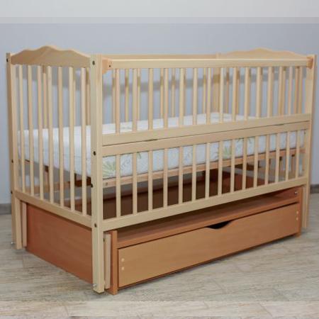 Детская кроватка Веселка - люкс натуральный бук с закрытым ящиком на шарнирах