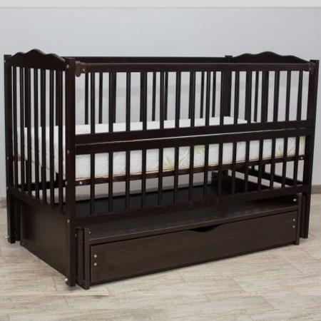 Веселка-люкс венге с ящиком - кроватка на шарнирах с закрытым ящиком