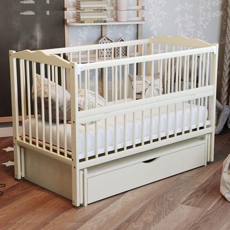 Детская кроватка Веселка-люкс слоновая кость с ящиком - кроватка на шарнирах с закрытым ящиком