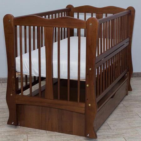 Детская кроватка Каролина орех на шарнирах с закрытым ящиком