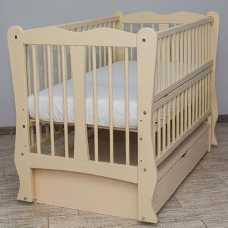 Детская кроватка Каролина слоновая кость на шарнирах с закрытым ящиком