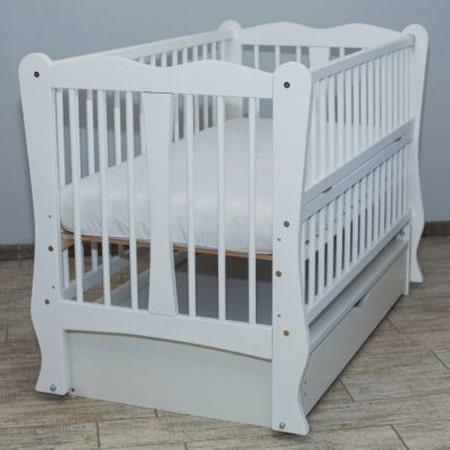 Детская кроватка Каролина белая на шарнирах с закрытым ящиком