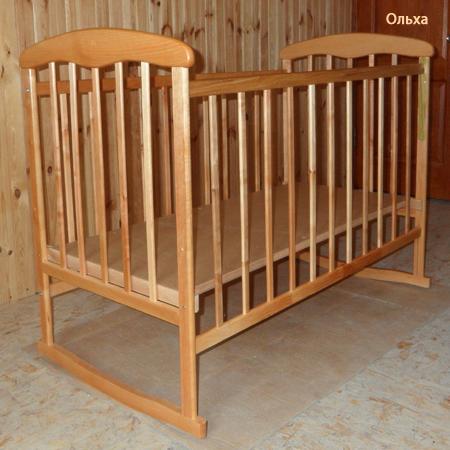 Детская кроватка Наталка ольха светлая - детская кроватка с колесами и качалкой