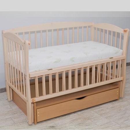 Элит натуральный бук - красивая буковая кроватка на шарнирах с закрытым ящиком