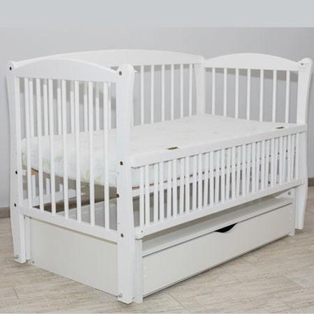 Элит белая - красивая буковая кроватка на шарнирах с  закрытым ящиком