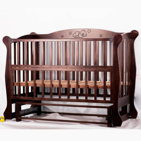 Спящий Мишка - элегантная детская кроватка-диванчик с бесшумным маятниковым механизмом (бук)