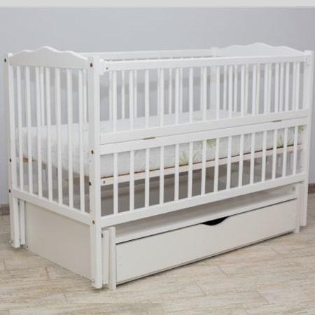 Веселка-люкс белая с ящиком - кроватка на шарнирах с закрытым ящиком