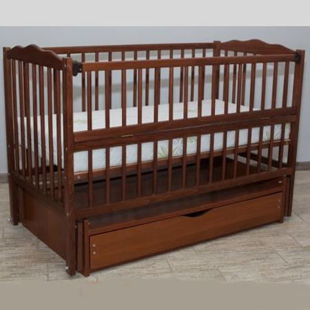 Веселка-люкс орех с ящиком - кроватка на шарнирах с закрытым ящиком