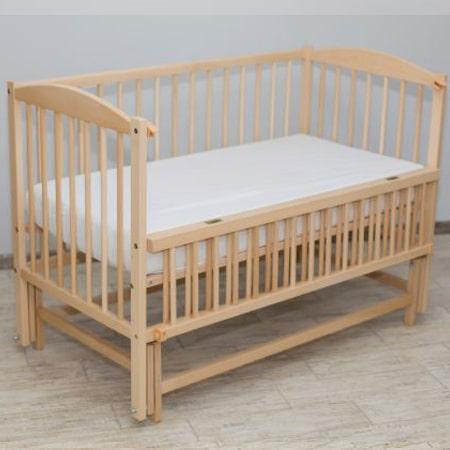 Детская кроватка Веселка - люкс натуральный бук на шарнирах с откидной стенкой