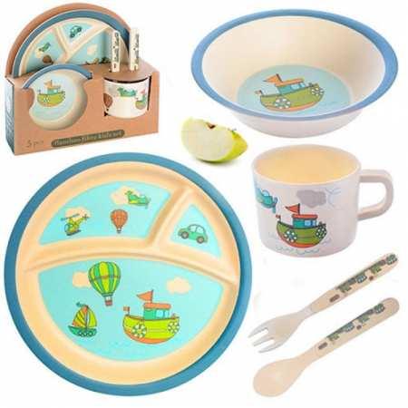 Набор детской эко посуды с бамбука - 5 предметов