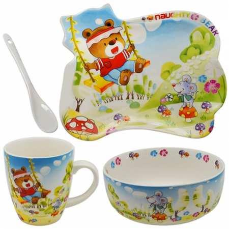 Bear - набор детской керамической посуды  с яркой расцветкой – 4 предмета
