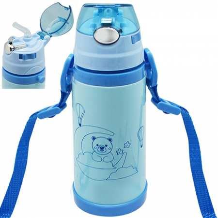 Детский термос-поилка-2H с трубочкой и ремешком
