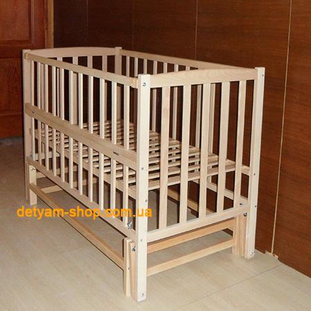 Детская кроватка Карпаты-люкс №2 нелакированная на шарнирах со стопором