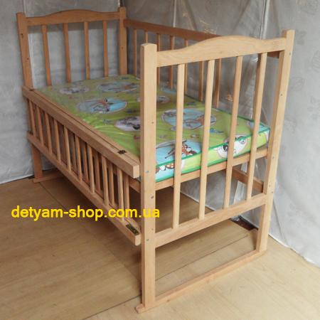 Мишутка детская нелакированная кроватка с откидным боком