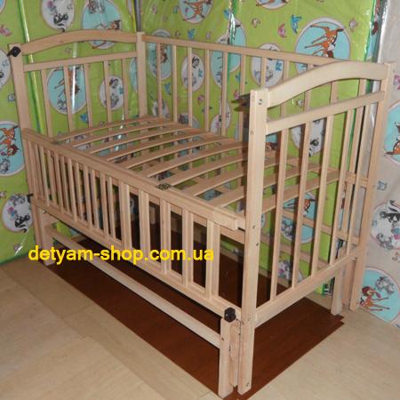 Мальвина - нелакированная буковая кроватка на шарнирах