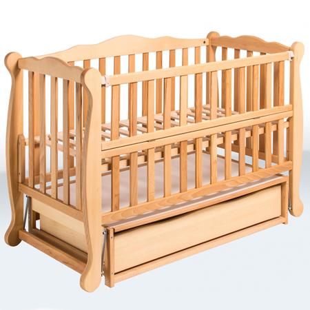 NATALI - фигурная и элегантная детская кроватка-маятник с закрытым ящиком и откидной боковинкой
