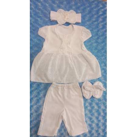 Розочка - комплект одежды для крещения девочки с платьем и повязкой