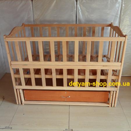 Сонятко - детская кроватка на шарнирах с ящиком и откидной боковинкой
