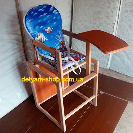Корона-люкс - деревянный стульчик-трансформер для кормления с ремнями безопасности
