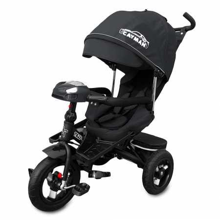 Cayman-Blak c пультом - модель стильного велосипеда с игровой панелью с фарами, надувными колесами и мягким поворотным сидением